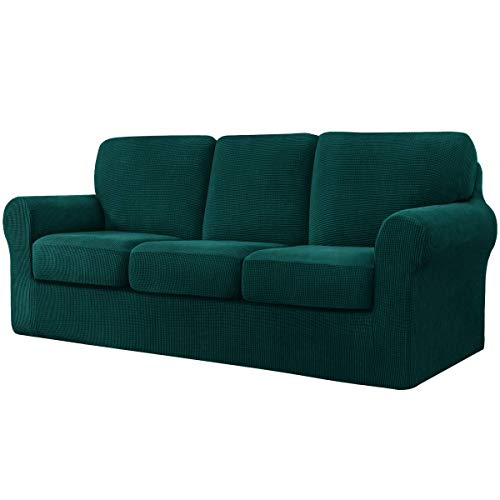 CHUN YI 7 Piece Stretch Sofa Cover, 3 Seater Couch Slipcover with Three Separate Backrests and Cushions with Elastic Band, Checks Spandex Jacquard Fabric(Large,Dark Green)