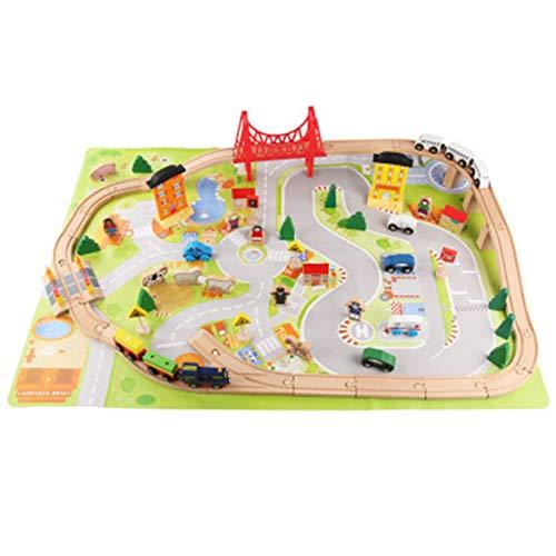 Juego De Juguetes De Pista Pistas de madera Regalo Juguete lleno de juguetes Kits de ferrocarril- Kids Friendly Building Juguete para 3 años de edad, niñas y niños Adecuado Para La Construcción Infant