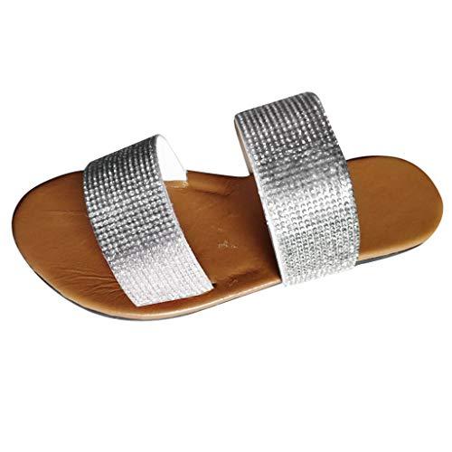 Hausschuhe Sommer Damen Flip-Flops Sandalen Kristall Roman Flats Casual Beach Schuhe (39,Silber)