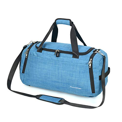 Sports Gym Bag with Wet Bag & Shoes Compartment/Travel Duffel/Diaper Bag/Backpack Strap/Double Shoulder/42L/Durable/Waterproof/with Combination Lock(LIGHT BLUE)