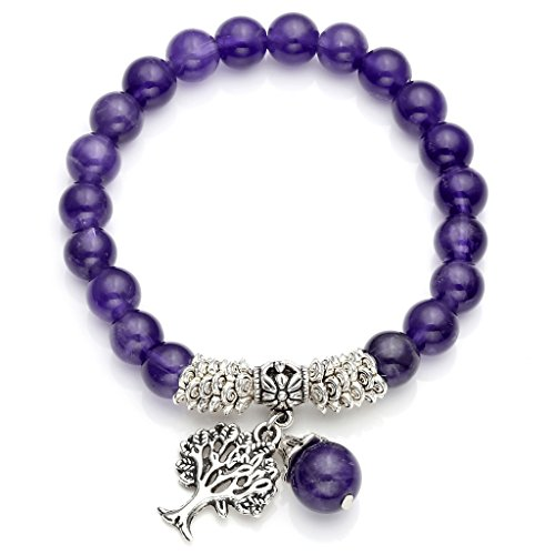JSDDE Amethyst Tree of Life Stretch Bracelet Reiki Healing Crystal Gemstone Beads Bracelet, Birthstone Lucky Stone Jewelry(6.2')