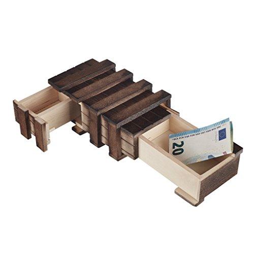MS-Versand Zauberhafte Holzgeschenkbox - mit 2 Fächern zum kreativen Verschenken von Gutscheinen, Schmuck und Geld (mit 2 beweglichen Teilen)