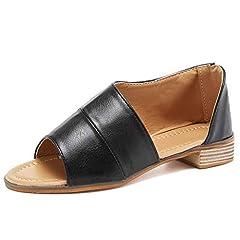 c08e4f1f02f6c Women Casual D orsay Open toe Flats Slip On Cut Out Asymmetrical ...