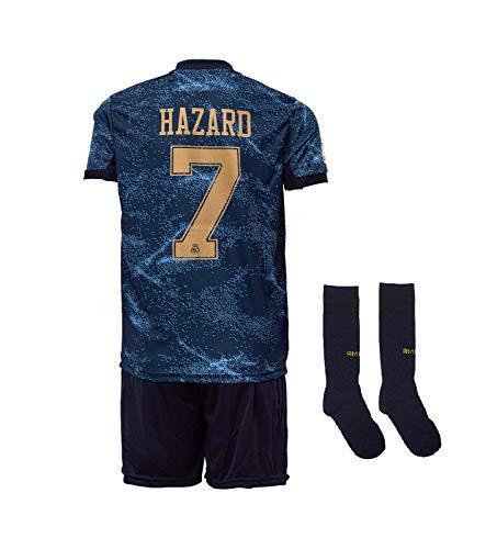 Real Madrid #7 Hazard 2019-2020 Auswärts Kinder Fußball Trikot Hose und Socken Kindergrößen