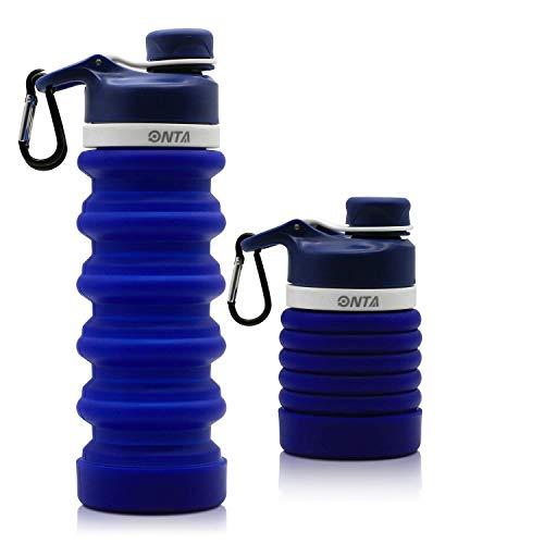 ONTA Faltbare Wasserflasche - BPA-freie für unterwegs, Lebensmitteltaugliche, Tragbare, Lecksichere Reise-Wasserflasche aus Silikon, 20 oz (Dunkelblau)