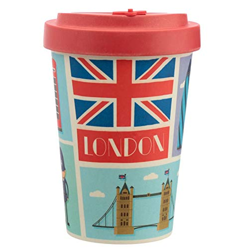 Bambus Kaffeebecher für den Coffee To Go mit London Motiv 400 ml, mit Schraub-Deckel und Silikon-Manschette, nachhaltige Alternative zum Einwegbecher, 14 x 9 x 9 cm