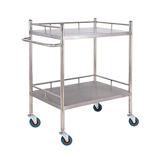 QMFYJ Servierwagen, Medical Trolley, Double Edelstahl Medical Laboratory Equipment Cart, One-Piece-Schutz Freie Montage Beauty Trolley, Werkzeugwagen,M-60 × 40 × 86Cm