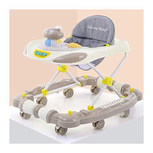 CJW-LC Andador con Freno, Andadores para Bebé De Altura Ajustable, Andador para Bebé Plegable Antivuelco con 8 Ruedas Silenciosas, para Niñas Niños De 6 A 18 Meses