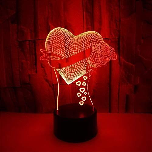 TBNB Luces de Noche de Hadas para baño Ventas de cabecera, 3D Rose Swan Love Forma de corazón Luz LED Lámpara de Escritorio Decoración Luz Decoración del hogar Cumpleaños romántico Rega