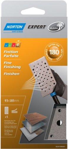 Norton - Lote de 5 bandas de lija para pulidora (93 x 185 mm, grano 180)