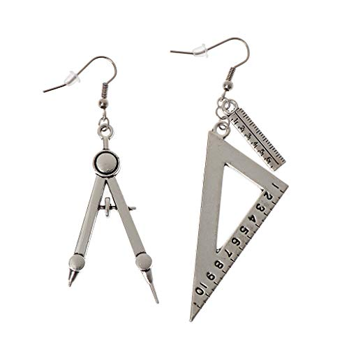 Harajuku Spoon Fork Triangle Ruler Asymmetric Earrings Antique Sliver Jewelry