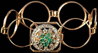 Finely Crafted Hoops Bracelet with Central Chakra of Faceted Emerald and Diamonds - 18 K Gold