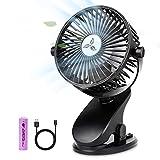 Battery Operated Clip on Stroller Fan, Portable Mini Desk Fan Rechargeable, USB Powered Clip Fan for Baby Stroller Office Outdoor Travel (Pink) (Black)