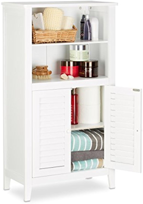 Relaxdays Badezimmerschrank wei LAMELL, Badschrank aus Bambus, Telefonschrank, HBT  92 x 50 x 25,5 cm