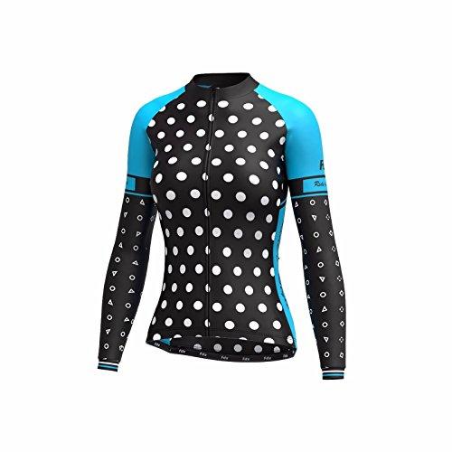 FDX Damen Radtrikot Langarm Roubaix Cold Wear Thermo Biking Jacke L Schwarz/Himmelblau