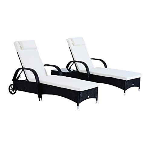 Outsunny Sonnenliege Gartenliege Tisch 3er-Set Gartenmöbel, Polyrattan+Metall Schwarz+Cremeweiß