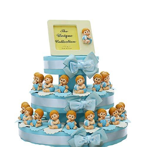 Viale Magico Torta Bomboniera Nascita Statuina Bimbo con Palla e Cuore, Pensierini Primo Compleanno Bimbo Originali, Bomboniere Battesimo Statuina (Torta da 35 Pezzi)