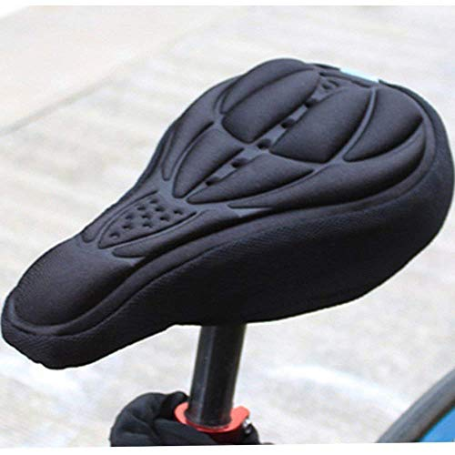 VOANZO 2 Piezas Funda de sillín de Bicicleta de montaña Almohadas ventiladas 3D Silicona Cómodo Asiento Cubrir Amortiguar Conjuntos Accesorios para Bicicletas (Negro)