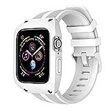 アップルの腕時計のベルト アイデアのシリカゲルは一体で殻を保護して 潮流の運動風 Apple watch series4/5は適用します ホワイト 42/44mm