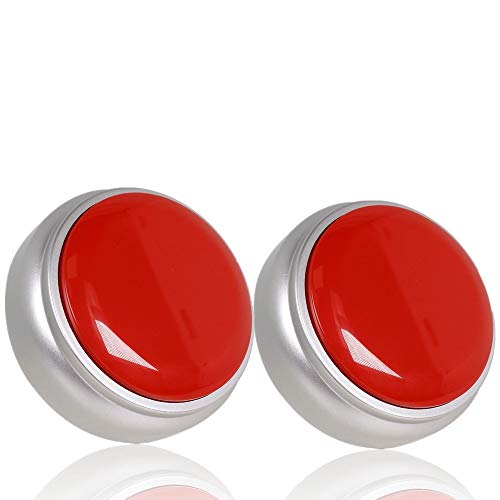 Recordable Talking Button, Answer Buzzers, Funny Gag Gifts -Record & Playback Your Own Message -Set of 2 (red+Silver)