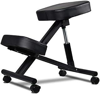 Tabouret orthopédique postural réglable en hauteur avec coussins ultra-confortables et système de blocage des roues noires