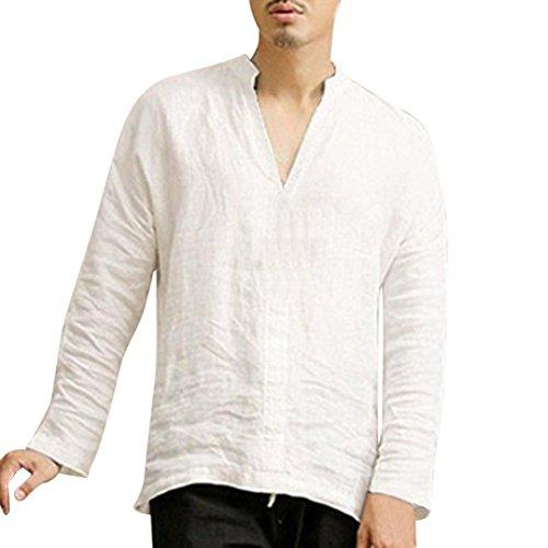 ALIKEEY Camisas De Lino Tradicionales para Hombres Manga Corta con Cuello En V Casual Blusa Suelta Camisetas Sueltas Cool Juego Top Adolescent Deportivas Sudadera del Collar Blusas (Blanco 2, S)