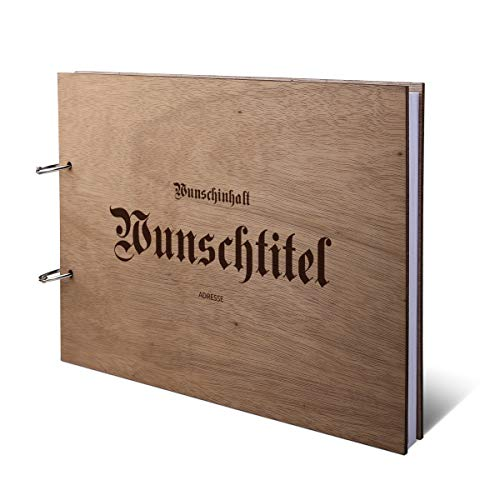 Ferienwohnung Gästebuch Okoume Holzcover mit individueller Gravur inkl. 72 Naturpapier Blätter DIN...
