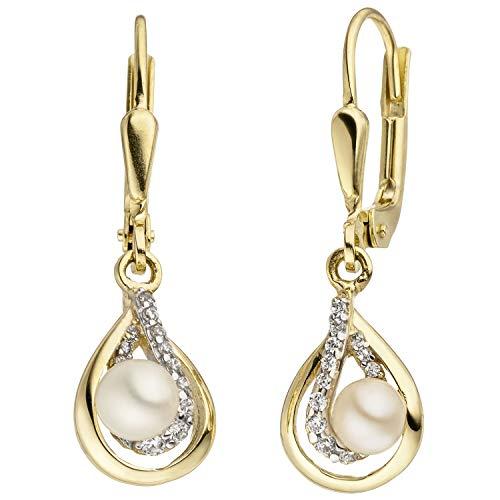 JOBO Damen-Ohrhänger aus 375 Gold mit Perlen und 24 Zirkonia