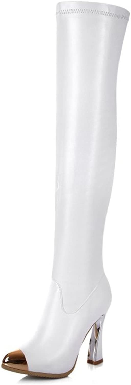 Nine Seven Genuine Leather Women's Round Toe Stiletto Heel Platform Buckle Handmade Over The Knee Boot