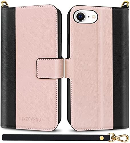 Pinzoveno Cover per iPhone SE 2020, Custodia per iPhone 7 / iPhone 8, Flip Caso in Pelle PU Magnetica Portafoglio Cover a Libro per 7/8/SE 2020 4,7 Pollici Rosa