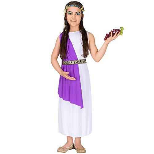 dressforfun 900067 - Disfraz de Niña Diosa Griega Atenea, Vestido Largo Tipo Capa (12-14 años | No. 300257)
