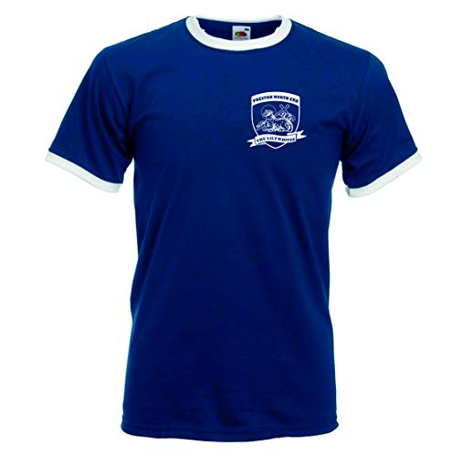 Preston North End F.C The The Lilywhites Retro Football Club Shield Tshirt. (M)