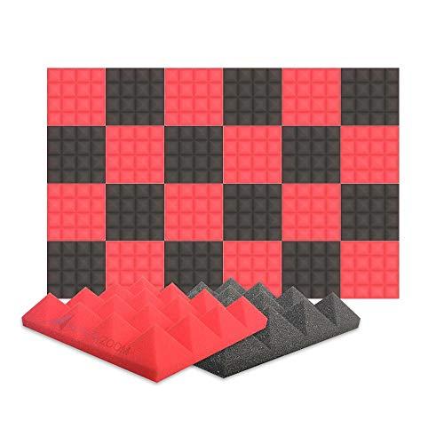Arrowzoom 24 Panels absorción de sonido Pirámide Espuma acústica Absorcion aislamiento acustico auto extinguible 25x25x5cm Negro & Rojo