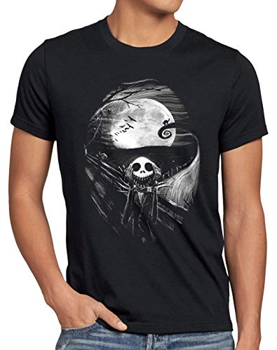 style3 Munch Nightmare Camiseta para Hombre T-Shirt Grito Christmas Before Navidad, Talla:M