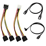 SATA Cable, SATA Data Cable and SATA Power Splitter Cable (4 Pack) SATA III Cable 6.0 Gbps SATA 3.0 Cable,15 Pin Power Splitter Cable