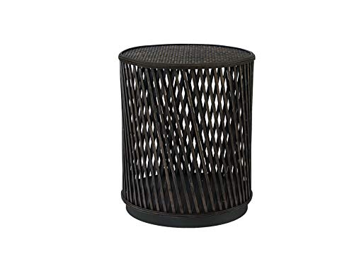 FINECASA Accent Side Table, Rattan End Table 21 x 17.75 Inches, Wicker Side Tables for Living Room, Bedroom, Small Spaces, Corner Table, Nightstand, Plantstand, Brown