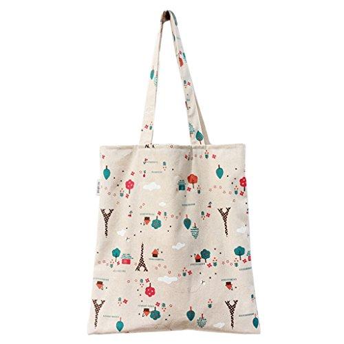 Bolsa de Mano de Compra para Mujer Tela Simple Varios Colores - Tema de Parque