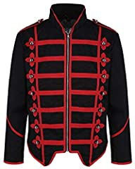 Lightweight - great all year round and perfect for musicians on stage The jacket is made of 100% cotton, has red trimmings and metal buttons across the front and the shoulders See size guide in photo