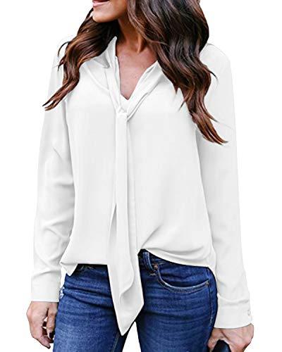 Auxo - Camicia da donna in chiffon, a maniche lunghe, con scollo a V, cravatta sul davanti Z-bianco-non Vedere Attraverso 46