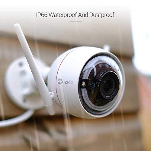 EZVIZ CTQ3W Telecamera da Esterno Telecamera Wi-Fi Esterno HD IP Camera da Esterno con Visione Notturna (30m) Sistema d'allarme con Luce Stroboscopica e Sirena Protezione IP66 Compatibile con Alexa