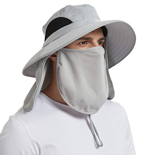 Sun Hat for Men/Women, Wide Birm Fishing Hat with Face Cover & Neck Flap Waterproof Breathable Foldable Bucket Hat Light Gray