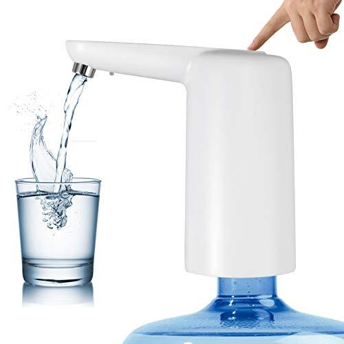 CAMWAY Wasserflaschen Pumpe, Automatische Trinkwasserpumpe mit Nachtlicht Tragbarer USB-Aufladung, mit 2 Überlaufschutzkappen für Außen- und Innenbereich