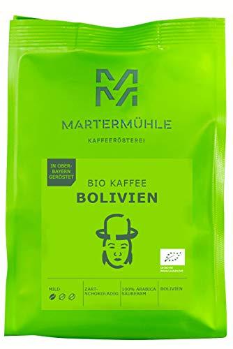 Martermühle I Bio Kaffee Bolivien I Bio Kaffee ganze Bohnen I Premium Kaffeebohnen aus Bolivien I Schonend geröstete Kaffeebohnen I Kaffeebohnen säurearm I 100% Arabica Kaffeebohnen I 500g