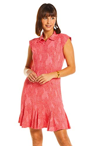 IBKUL Women's Sun Protective UPF50+ Icefil tech BTB Snake Print Sleeveless Polo Dress - 50650 Coral Tonal BTB Snake L