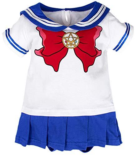 Bebkuebe Baby Girls' Sailor Moon Bodysuit Short Sleeve Dress (Blue, 3-6 Months)