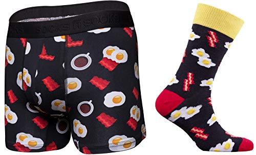 Mens Fun Colorful Funky Boxer Briefs Bacon & Eggs Underwear and Socks Combo-XL