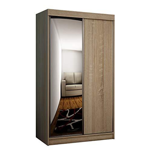 Mirjan24 Kleiderschrank Toplo 100 II, Elegantes Schlafzimmerschrank, Spiegel, 100 x 200 x 62 cm, Dielenschrank, Garderobenschrank,...