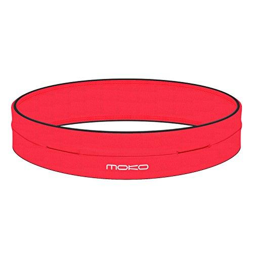 MoKo Riñoneras Belt Universal - Deportivo Cinturón de Correr de 4 Bolsillos para Ejercicios, Fitness, Gimnasio para iPhone 7 / 6S / Galaxy J7 / S9 / S7 Edge/Xiaomi Redmi 5 / Redmi 5 Plus,S, Rojo