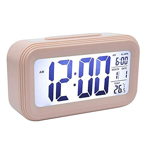 Mini Kitty Digital Alarm Clock with Large LED Display Battery Operated Snooze Function Date Display Temperature Calendar and Smart Night Light or Kids Bedroom Office Traveler Students Kitchen