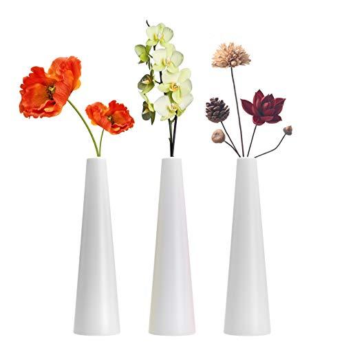 LINGMAI Jarrón alto de plástico compuesto cónico, florero floral decorativo para el hogar, centros de mesa, organización de ramos, tubos conectados (calibre pequeño)
